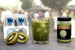Wodka in Dosen aufbereitet mit Kiwi und Matcha Tee